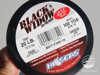 16 Pound Test, 3 Color Camouflage Hi-Seas Black Widow Co-Polymer Line